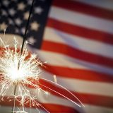 Sparkler Infront Of American Flag